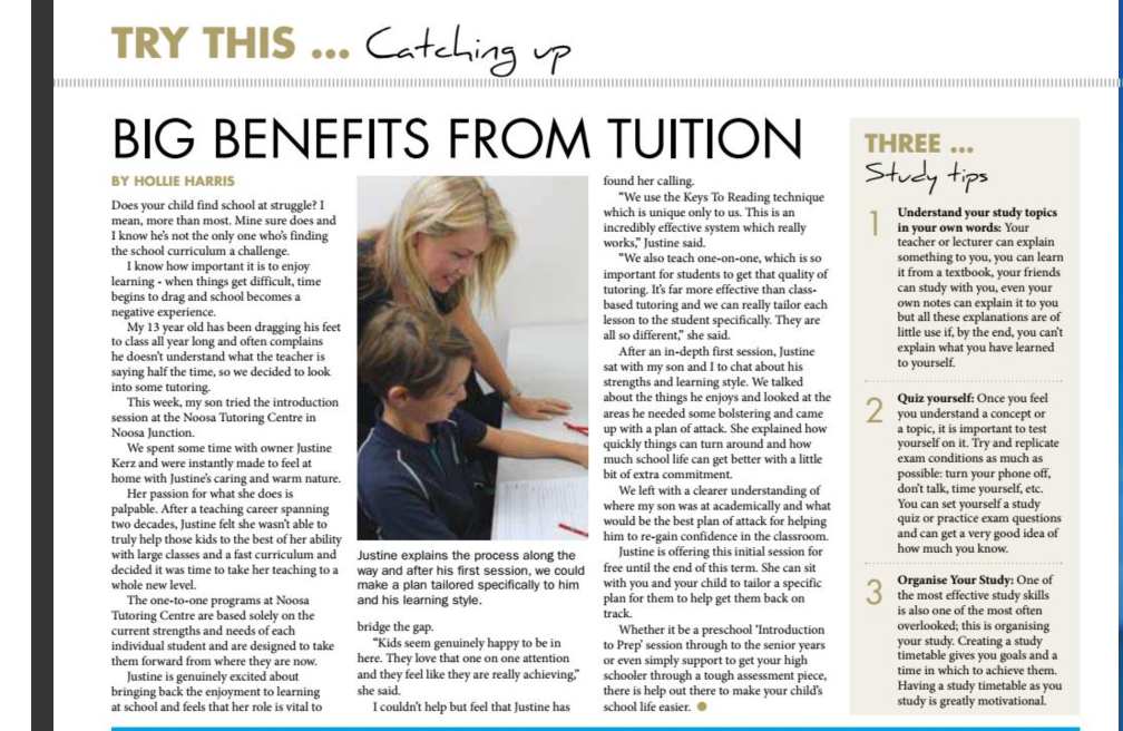 Learning with a tutor at Noosa Tutoring Centre
